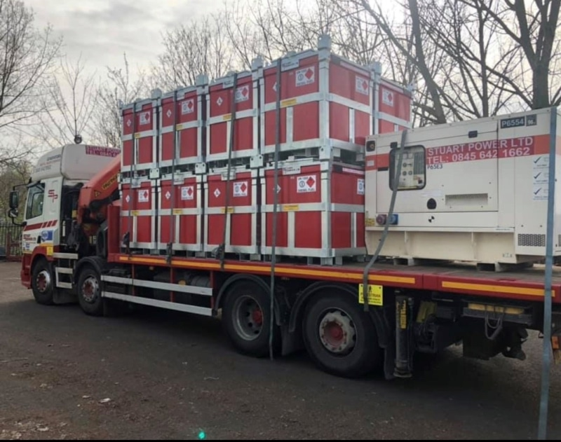 DAF lorry loaded with 950 litre fuelcube polycubes and generator What is a Bowser? Trailer Engineering